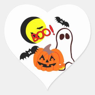 Halloween Ghost Friends Heart Sticker