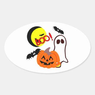 Halloween Ghost Friends Oval Sticker