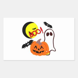 Halloween Ghost Friends Rectangular Sticker