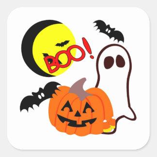 Halloween Ghost Friends Square Sticker