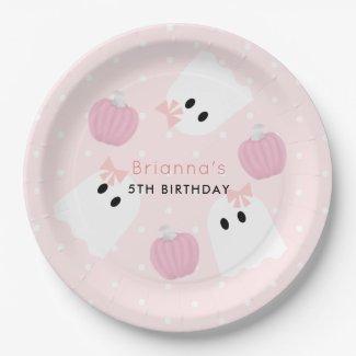 Halloween Ghost GIrl & Pumpkin Birthday Pink Paper Plate