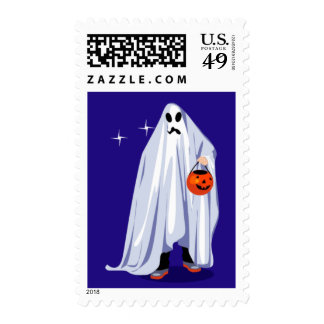 Halloween Ghost go to Trick or Treat Postage Stamp