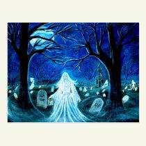 Halloween,ghost,graveyard,tombstones,churchyard Postcard
