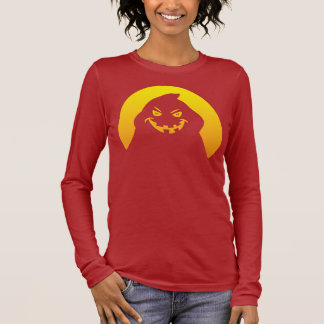 Halloween Ghost Head Ladies Long Sleeve T-Shirt