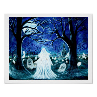 """Halloween ghost in a graveyard 'Up after Flowers"""" Poster"""