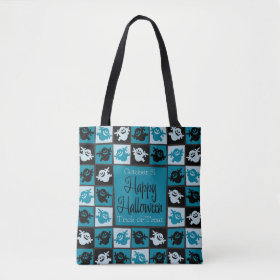 Halloween ghost mosaic tote bag