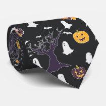 Halloween Ghost Night Pattern Neck Tie