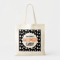 Halloween Ghost Pattern Personalized Black Treat Tote Bag