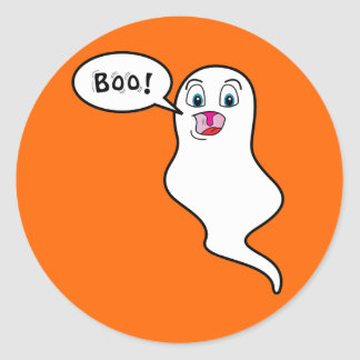 "Halloween Ghost Says, ""BOO!"" Classic Round Sticker"