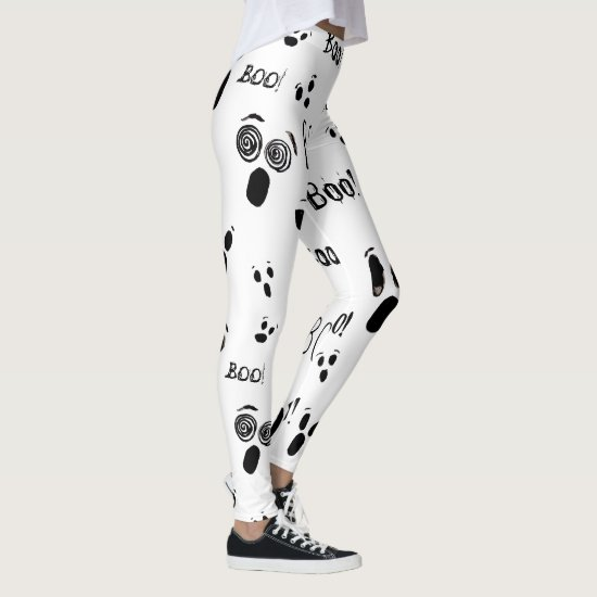 Halloween Ghost Spooky Black White Novelty Costume Leggings