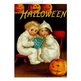 Halloween Ghost Stories Boy & Girl Orange Punkins Card