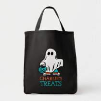 Halloween Ghost Trick or Treat Teal Pumpkin Kids Tote Bag