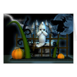 Halloween Ghost Witch rats and crows, scared ghost Greeting Card