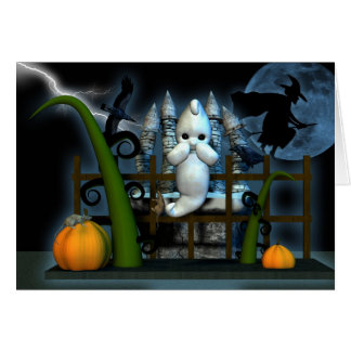 Halloween Ghost Witch rats and crows, scared ghost Card