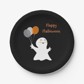 Halloween Ghost with Balloons Paper Plate