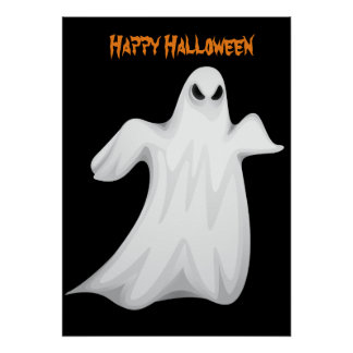 Halloween Ghost with pumpkin Poster