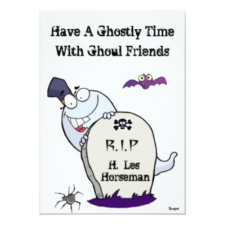 Halloween- Ghost with Tombstone (RIP) 5x7 Paper Invitation Card
