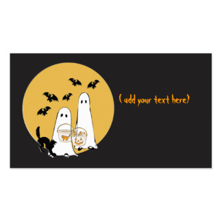 halloween ghosties on  black, Double-Sided standard business cards (Pack of 100)
