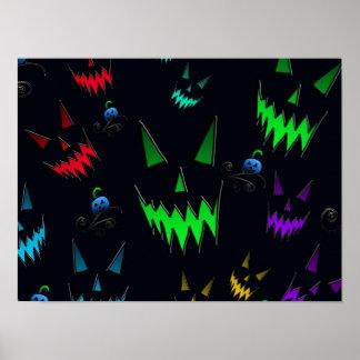 Halloween Ghostly Jack O' Lanterns Poster