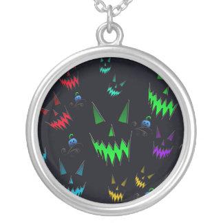 Halloween Ghostly Jack O' Lanterns Round Pendant Necklace