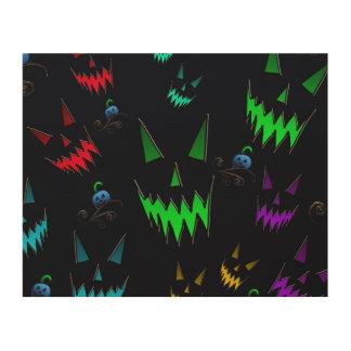 Halloween Ghostly Jack O' Lanterns Wood Wall Art