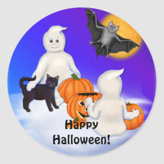 Halloween Ghosts and Friends Classic Round Sticker