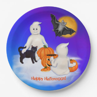 Halloween Ghosts and Friends Paper Plate