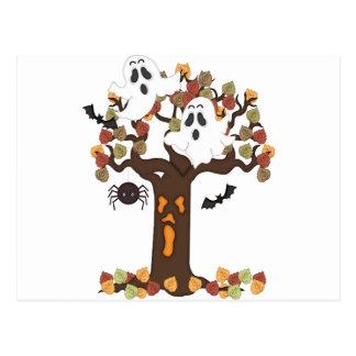 Halloween Ghosts Autumn Tree Post Cards