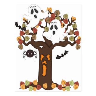 Halloween Ghosts Autumn Tree Postcards