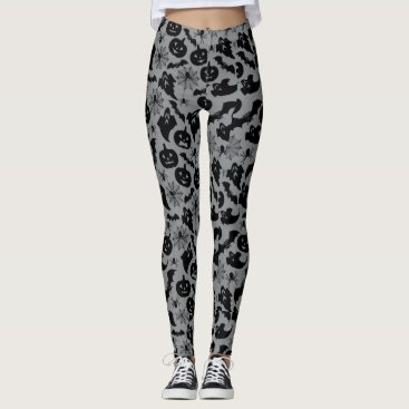 Halloween Themed Halloween Ghosts & Bats Grey and Black Leggings