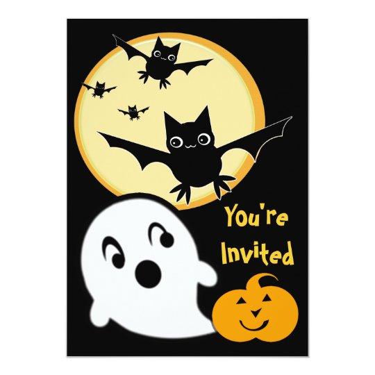 Halloween Ghosts & Bats Kid's Party Invitation