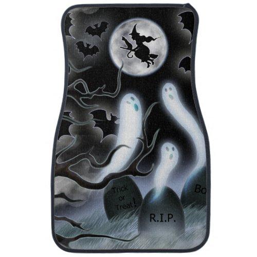 Halloween Ghosts Flying Bats and Tombstones Car Floor Mat