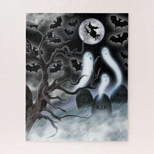 Halloween Ghosts Flying Bats and Tombstones Jigsaw Puzzle