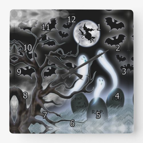 Halloween Ghosts Flying Bats and Tombstones Square Wall Clock
