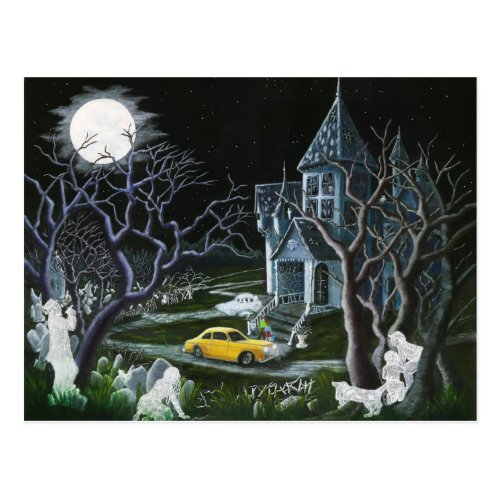 Halloweenghostshauntedhousemansion Postcard