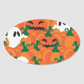 Halloween Ghosts Haunted Pumpkin Patch Oval Sticker