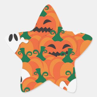 Halloween Ghosts Haunted Pumpkin Patch Star Sticker