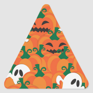 Halloween Ghosts Haunted Pumpkin Patch Triangle Sticker