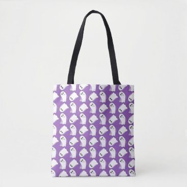 Halloween Themed Halloween Ghosts In Motion Purple Tote Bag