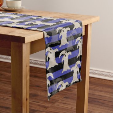 Halloween Themed Halloween Ghosts | Purple, Gray and Black Stripes Short Table Runner