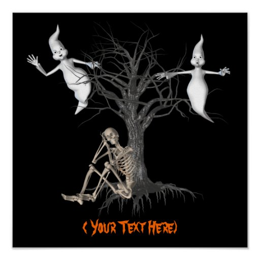 Halloween Ghosts Skeleton Personalized Poster