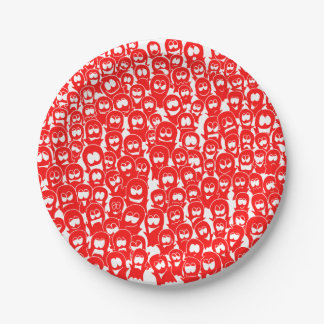 Halloween Ghosts Spirits Red Hand-drawn Doodle Paper Plate