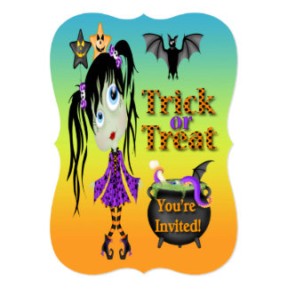 Halloween Ghoul Girl Bracket Invitations