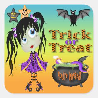 Halloween Ghoul Girl Envelope Seals Square Sticker