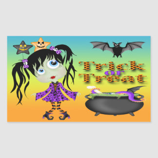 Halloween Ghoul Girl Rectangle Stickers