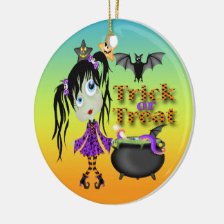 Halloween Ghoul Girl Round Ornament