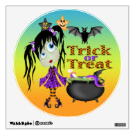 Halloween Ghoul Girl Round Wall Decal Room Graphic