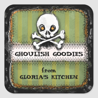 Halloween Ghoulish Goodies Green Stripes - Skull Square Sticker