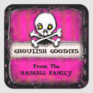 Halloween Ghoulish Goodies Label Hot Pink - Skull Square Sticker