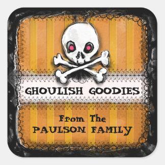 Halloween Ghoulish Goodies Label - Skull Square Sticker